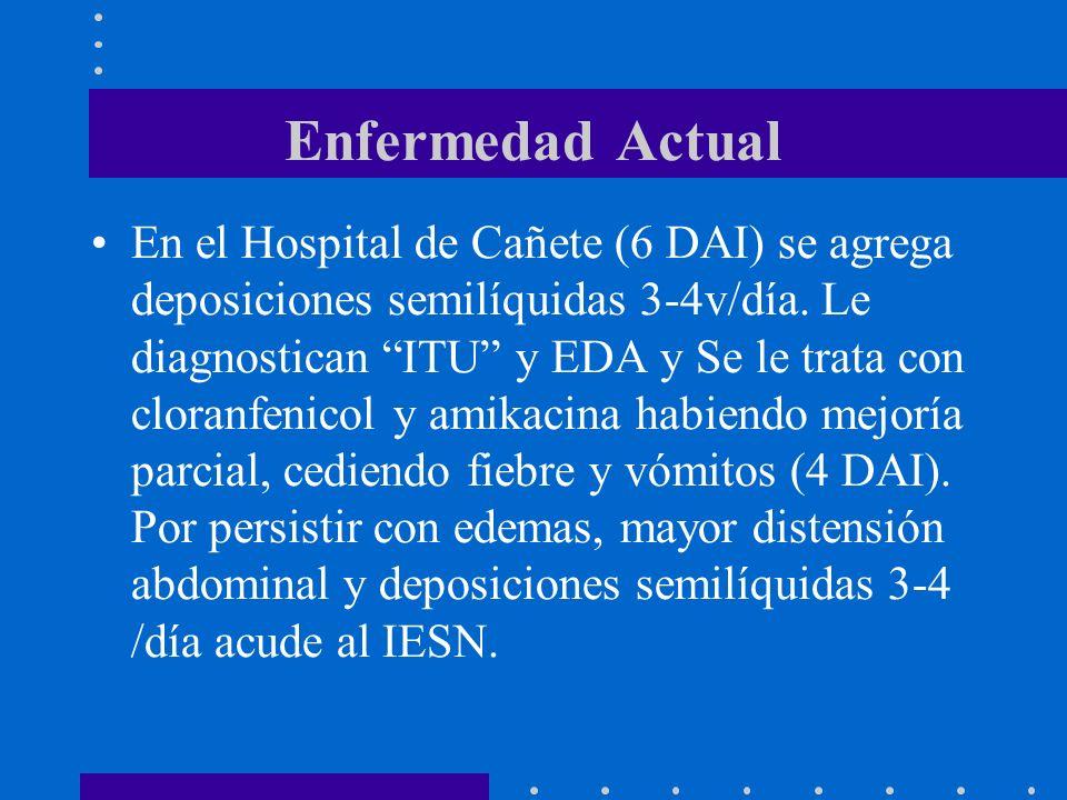 Enfermedad Actual En el Hospital de Cañete (6 DAI) se agrega deposiciones semilíquidas 3-4v/día. Le diagnostican ITU y EDA y Se le trata con cloranfen