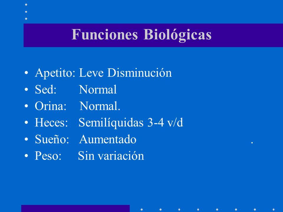 Funciones Biológicas Apetito: Leve Disminución Sed: Normal Orina: Normal. Heces: Semilíquidas 3-4 v/d Sueño: Aumentado. Peso: Sin variación