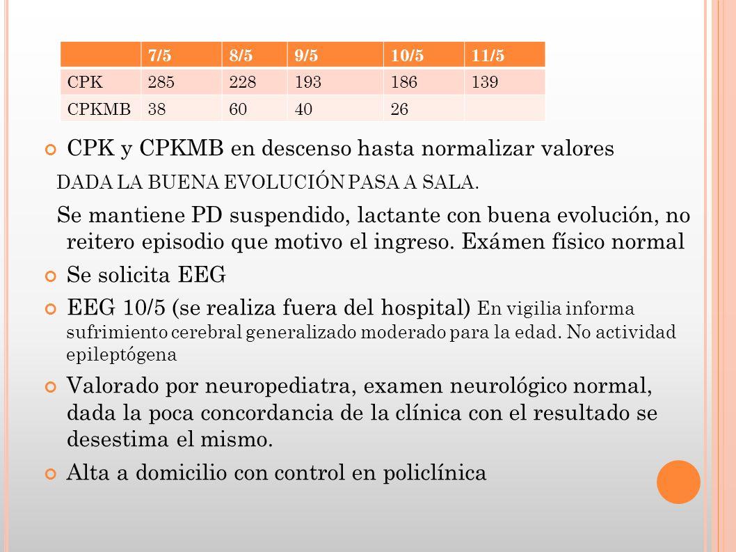 CPK y CPKMB en descenso hasta normalizar valores DADA LA BUENA EVOLUCIÓN PASA A SALA. Se mantiene PD suspendido, lactante con buena evolución, no reit