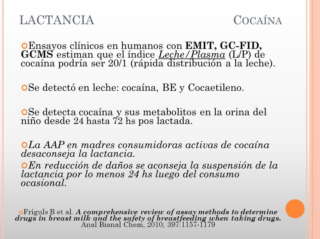 LACTANCIA C OCAÍNA Ensayos clínicos en humanos con EMIT, GC-FID, GCMS estiman que el índice Leche/Plasma (L/P) de cocaína podría ser 20/1 (rápida dist