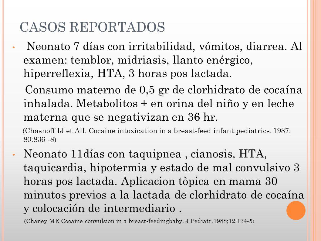 CASOS REPORTADOS Neonato 7 días con irritabilidad, vómitos, diarrea. Al examen: temblor, midriasis, llanto enérgico, hiperreflexia, HTA, 3 horas pos l