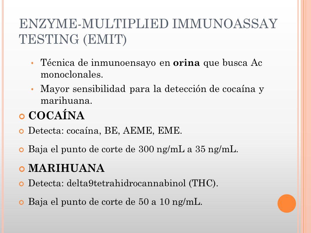 ENZYME-MULTIPLIED IMMUNOASSAY TESTING (EMIT) Técnica de inmunoensayo en orina que busca Ac monoclonales. Mayor sensibilidad para la detección de cocaí