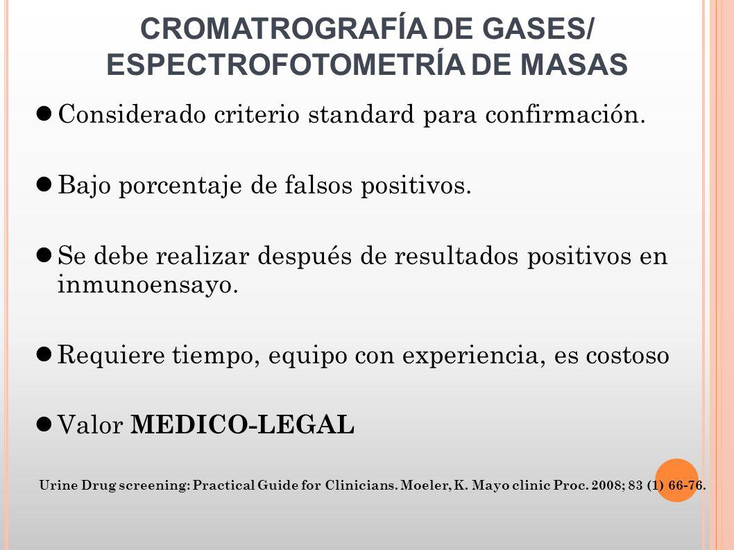 CROMATROGRAFÍA DE GASES/ ESPECTROFOTOMETRÍA DE MASAS Considerado criterio standard para confirmación. Bajo porcentaje de falsos positivos. Se debe rea