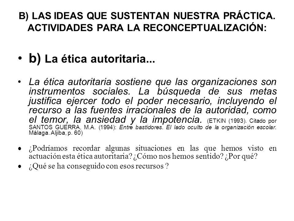 B) LAS IDEAS QUE SUSTENTAN NUESTRA PRÁCTICA. ACTIVIDADES PARA LA RECONCEPTUALIZACIÓN: b) La ética autoritaria... La ética autoritaria sostiene que las