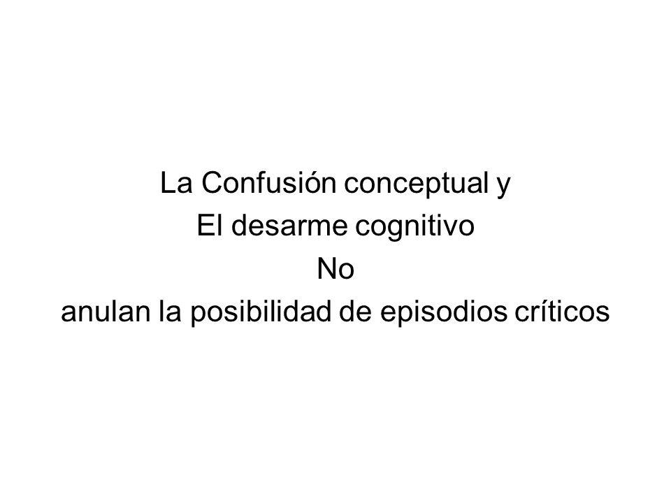La Confusión conceptual y El desarme cognitivo No anulan la posibilidad de episodios críticos