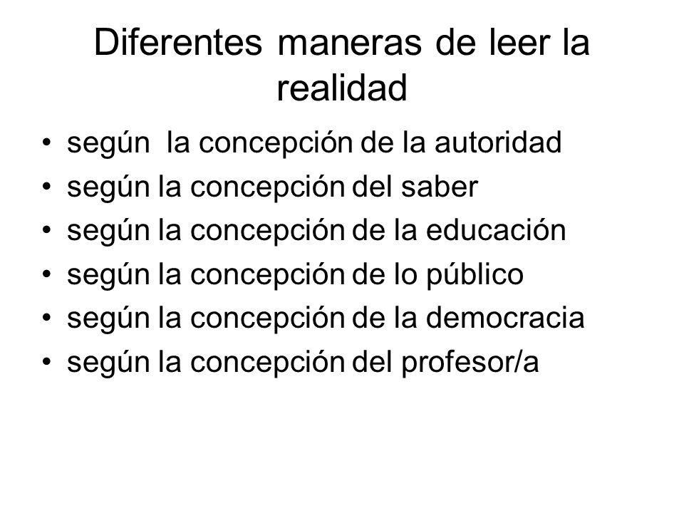 Diferentes maneras de leer la realidad según la concepción de la autoridad según la concepción del saber según la concepción de la educación según la