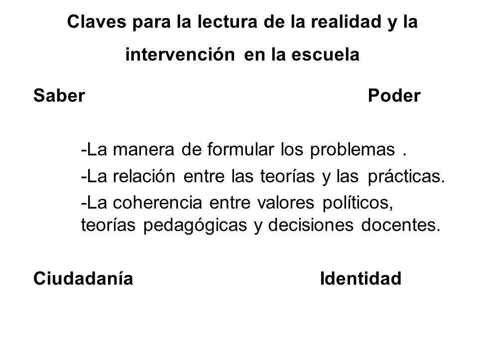 Claves para la lectura de la realidad y la intervención en la escuela Saber Poder -La manera de formular los problemas. -La relación entre las teorías