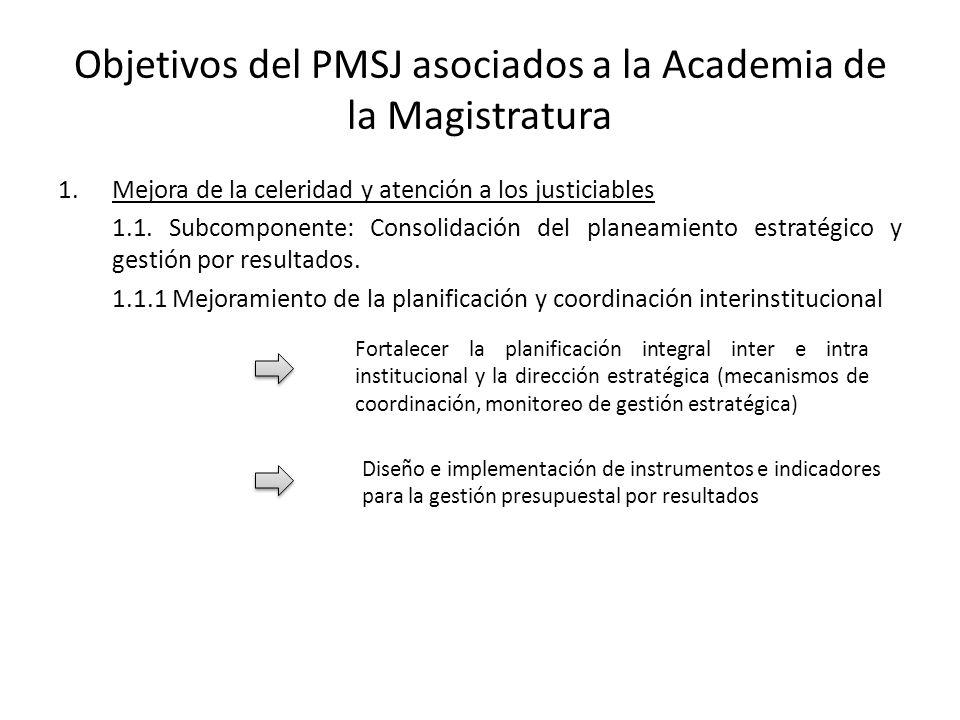 Objetivos del PMSJ asociados a la Academia de la Magistratura 1.Mejora de la celeridad y atención a los justiciables 1.1. Subcomponente: Consolidación