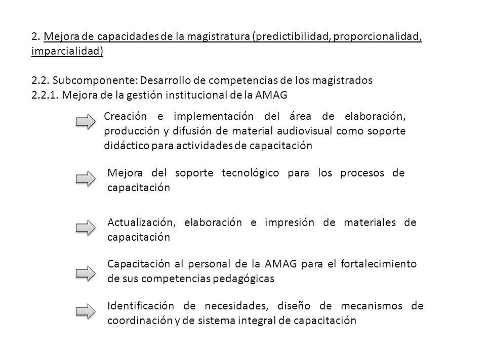 2. Mejora de capacidades de la magistratura (predictibilidad, proporcionalidad, imparcialidad) 2.2. Subcomponente: Desarrollo de competencias de los m
