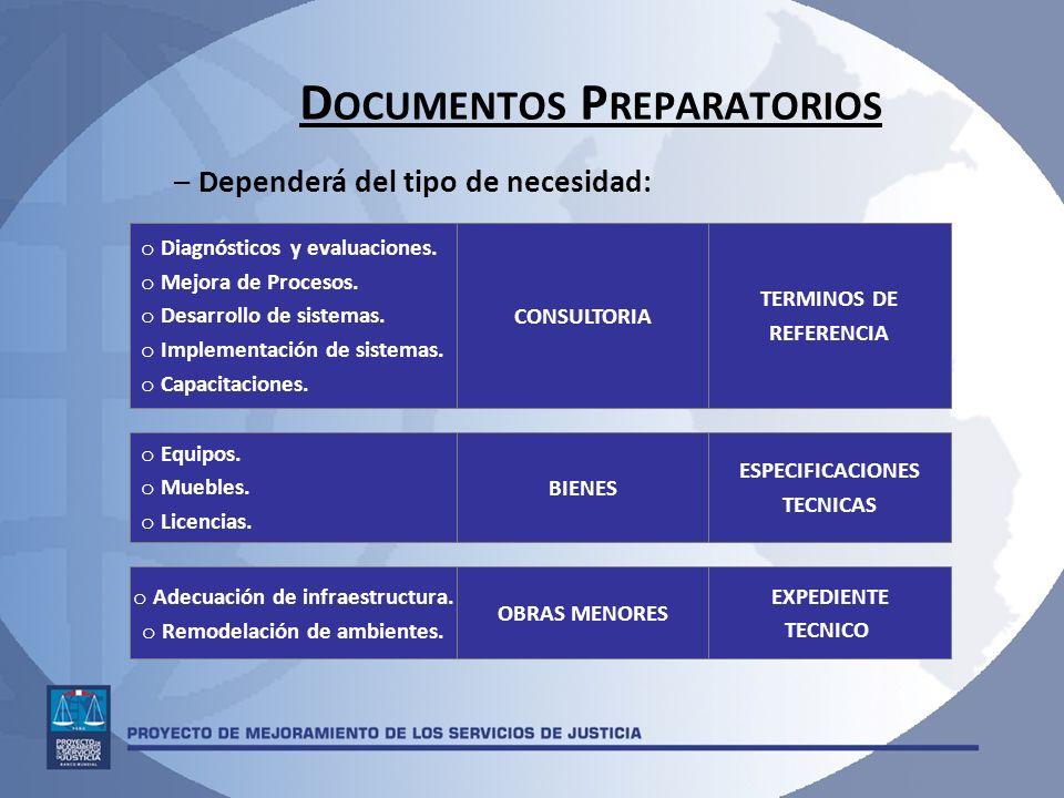 D OCUMENTOS P REPARATORIOS – Dependerá del tipo de necesidad: OBRAS MENORES EXPEDIENTE TECNICO BIENES ESPECIFICACIONES TECNICAS CONSULTORIA TERMINOS D