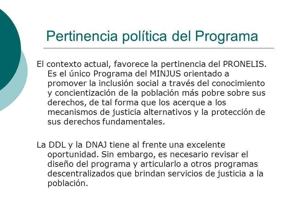 Pertinencia política del Programa El contexto actual, favorece la pertinencia del PRONELIS. Es el único Programa del MINJUS orientado a promover la in