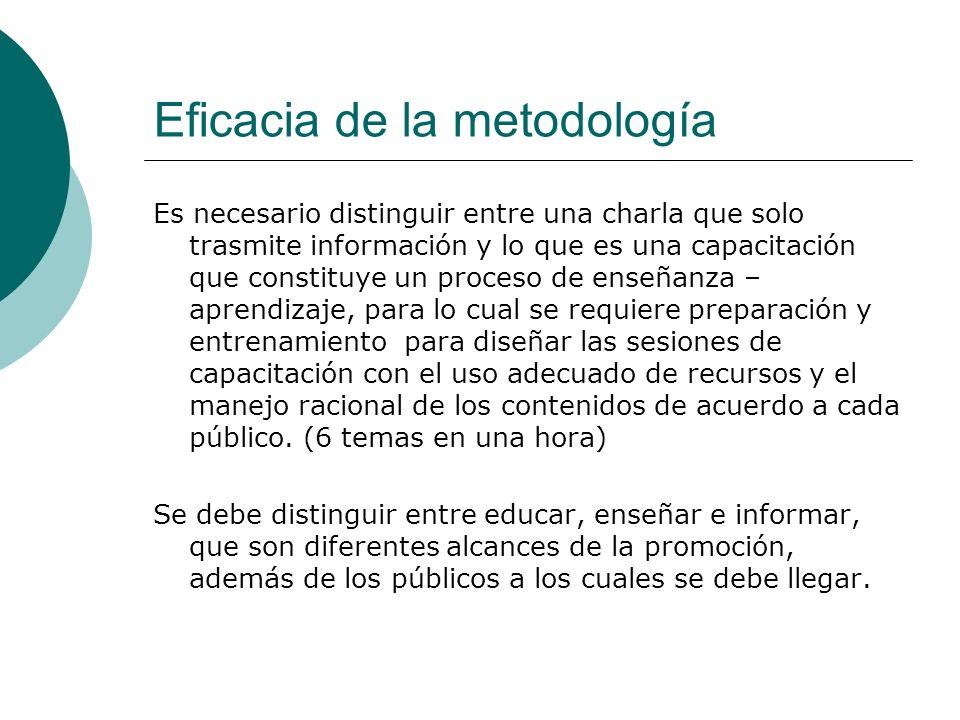 Eficacia de la metodología Es necesario distinguir entre una charla que solo trasmite información y lo que es una capacitación que constituye un proce