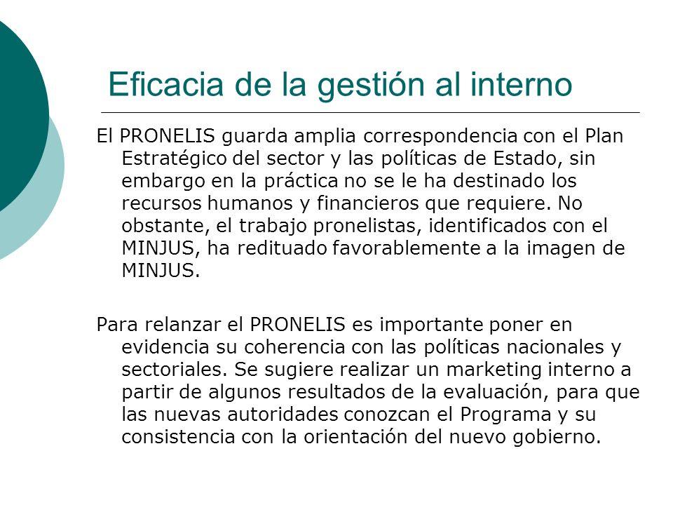 Eficacia de la gestión al interno El PRONELIS guarda amplia correspondencia con el Plan Estratégico del sector y las políticas de Estado, sin embargo