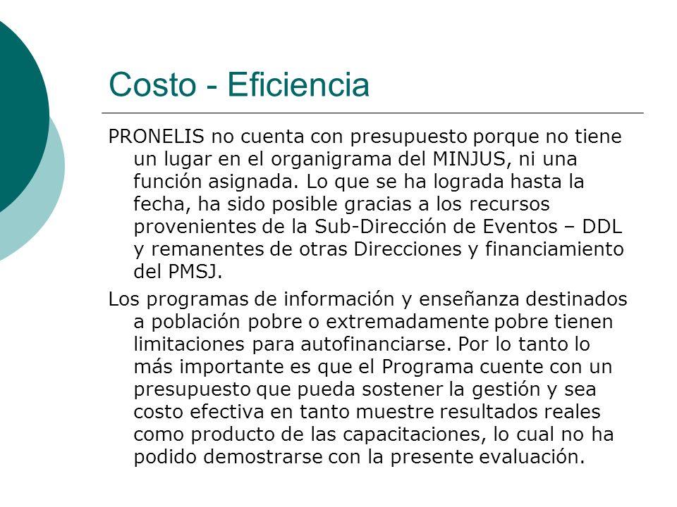 Costo - Eficiencia PRONELIS no cuenta con presupuesto porque no tiene un lugar en el organigrama del MINJUS, ni una función asignada. Lo que se ha log