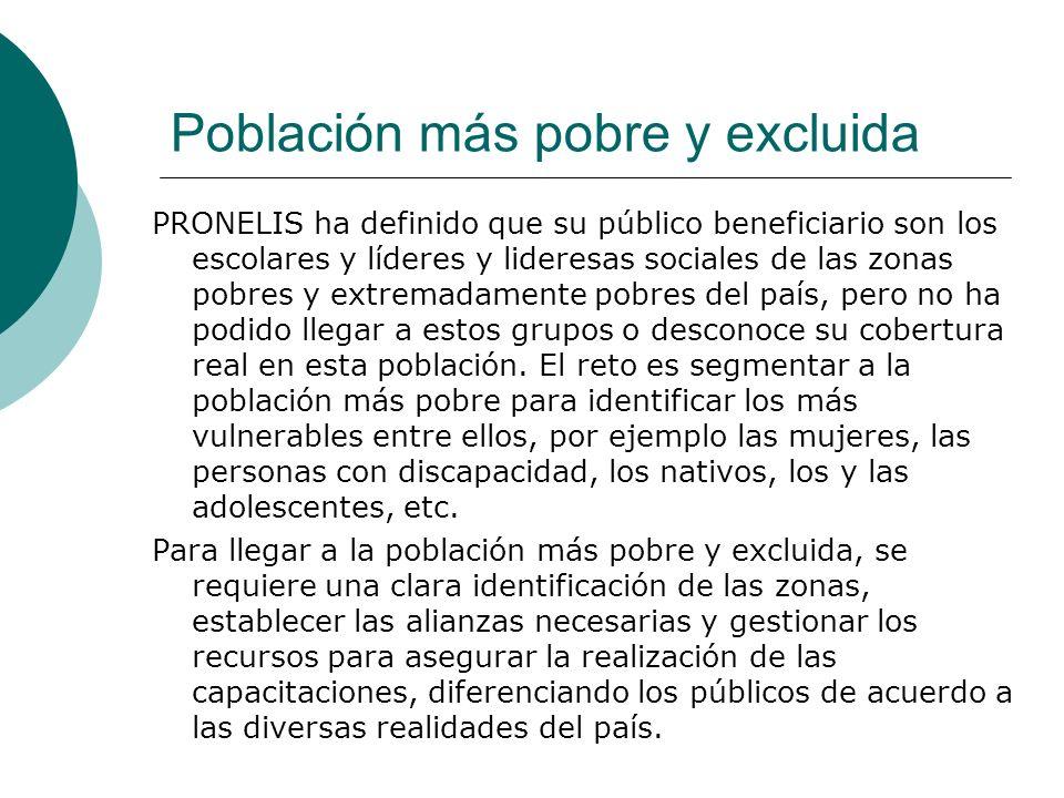 Población más pobre y excluida PRONELIS ha definido que su público beneficiario son los escolares y líderes y lideresas sociales de las zonas pobres y