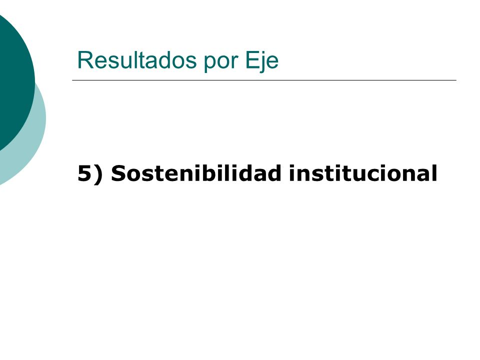 Resultados por Eje 5) Sostenibilidad institucional