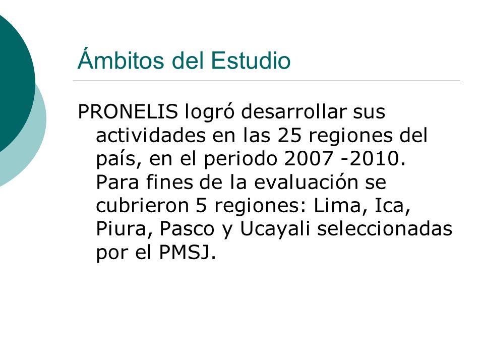 Ámbitos del Estudio PRONELIS logró desarrollar sus actividades en las 25 regiones del país, en el periodo 2007 -2010. Para fines de la evaluación se c