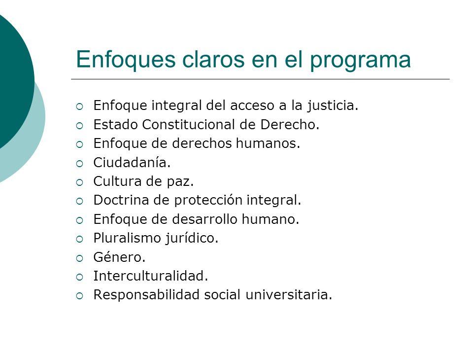 Enfoques claros en el programa Enfoque integral del acceso a la justicia. Estado Constitucional de Derecho. Enfoque de derechos humanos. Ciudadanía. C