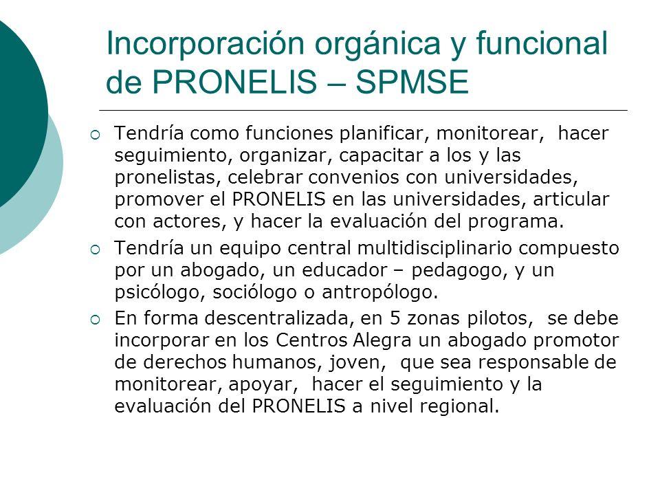 Incorporación orgánica y funcional de PRONELIS – SPMSE Tendría como funciones planificar, monitorear, hacer seguimiento, organizar, capacitar a los y