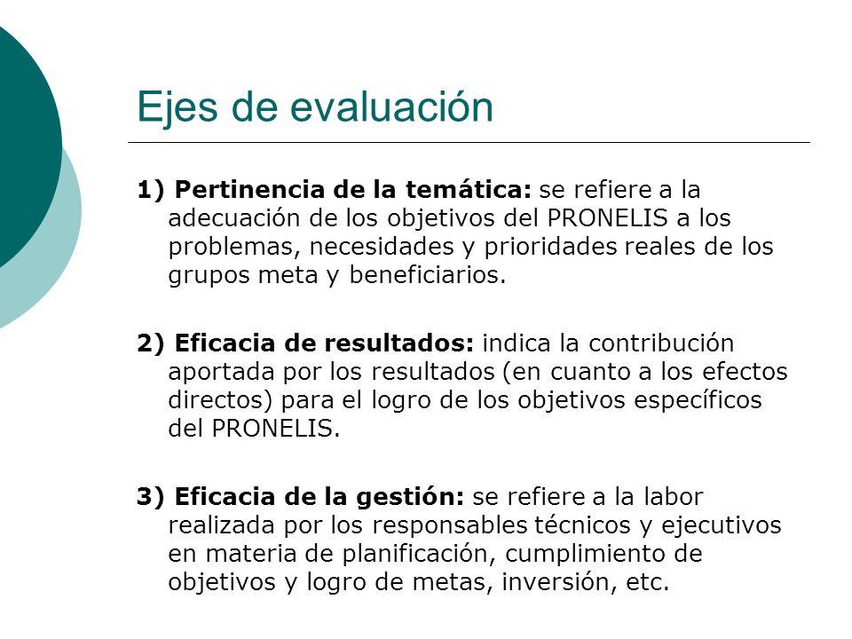 Ejes de evaluación 1) Pertinencia de la temática: se refiere a la adecuación de los objetivos del PRONELIS a los problemas, necesidades y prioridades