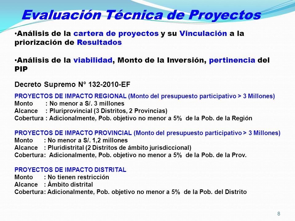 Evaluación Técnica de Proyectos PROYECTOS DE IMPACTO REGIONAL (Monto del presupuesto participativo > 3 Millones) Monto : No menor a S/. 3 millones Alc