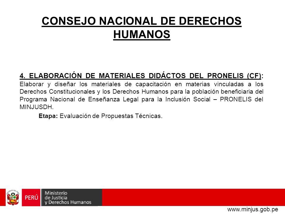 CONSEJO NACIONAL DE DERECHOS HUMANOS 4. ELABORACIÓN DE MATERIALES DIDÁCTOS DEL PRONELIS (CF): Elaborar y diseñar los materiales de capacitación en mat