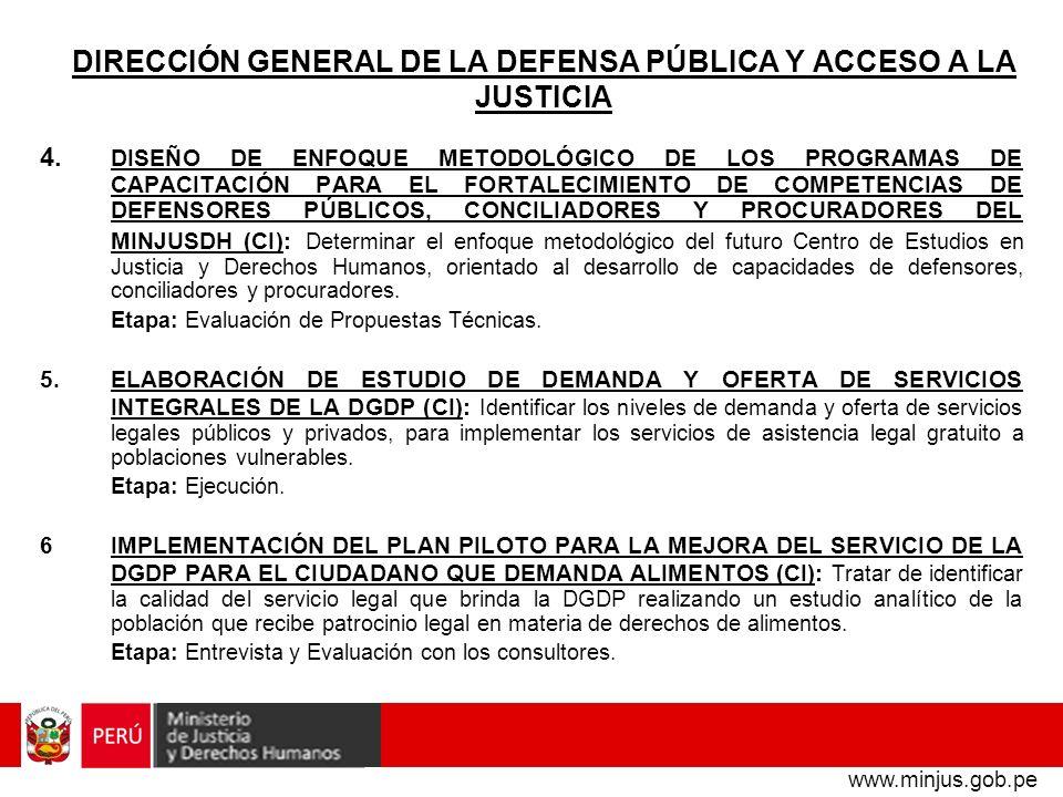 DIRECCIÓN GENERAL DE LA DEFENSA PÚBLICA Y ACCESO A LA JUSTICIA 7.CAPACITACIÓN PARA DEFENSORES PÚBLICOS DE LIMA EN DERECHO PROCESAL PENAL (CF): Desarrollar, fortalecer y consolidar las competencias de los defensores públicos con respecto a la aplicación del CPP de 2004.