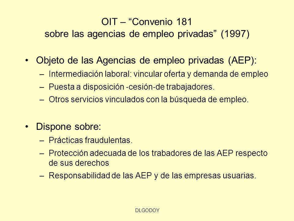 DLGODOY OIT – Convenio 181 sobre las agencias de empleo privadas (1997) Objeto de las Agencias de empleo privadas (AEP): –Intermediación laboral: vinc