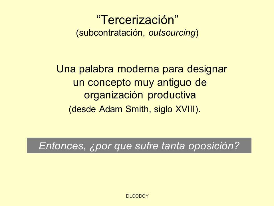 DLGODOY Tercerización (subcontratación, outsourcing) Una palabra moderna para designar un concepto muy antiguo de organización productiva (desde Adam