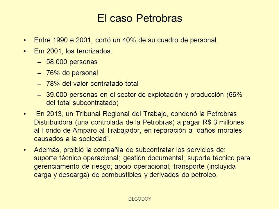El caso Petrobras Entre 1990 e 2001, cortó un 40% de su cuadro de personal. Em 2001, los tercrizados: –58.000 personas –76% do personal –78% del valor