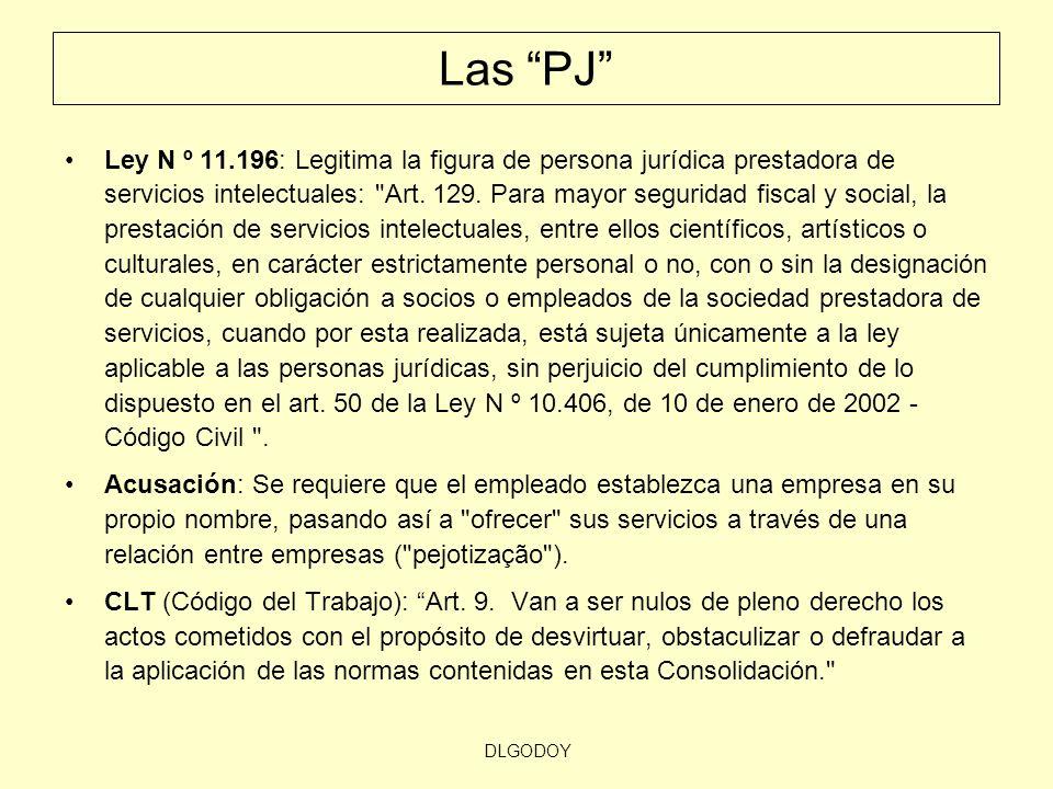 DLGODOY Las PJ Ley N º 11.196: Legitima la figura de persona jurídica prestadora de servicios intelectuales: