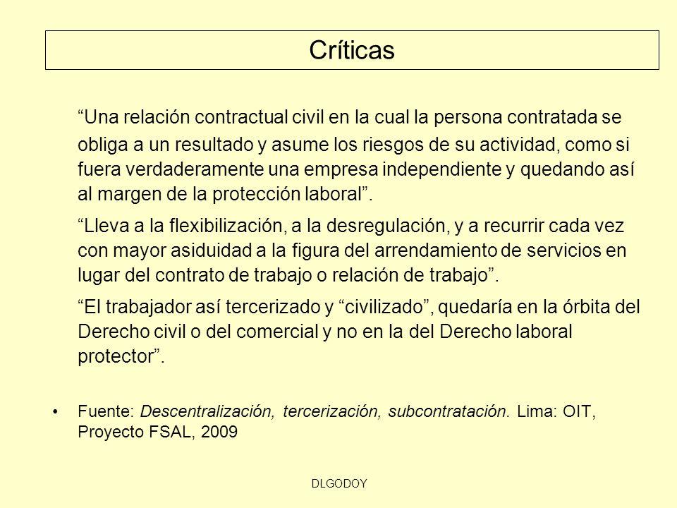 DLGODOY Una relación contractual civil en la cual la persona contratada se obliga a un resultado y asume los riesgos de su actividad, como si fuera ve