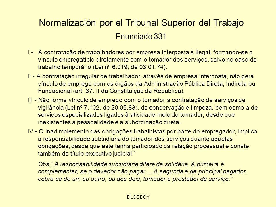 DLGODOY Normalización por el Tribunal Superior del Trabajo Enunciado 331 I - A contratação de trabalhadores por empresa interposta é ilegal, formando-