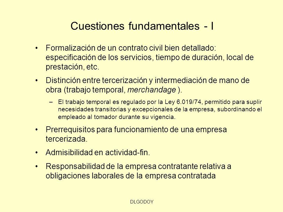 DLGODOY Cuestiones fundamentales - I Formalización de un contrato civil bien detallado: especificación de los servicios, tiempo de duración, local de