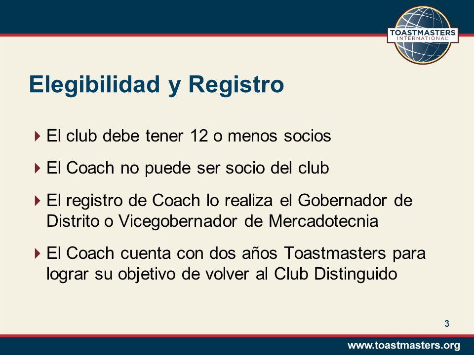 3 Elegibilidad y Registro El club debe tener 12 o menos socios El Coach no puede ser socio del club El registro de Coach lo realiza el Gobernador de D