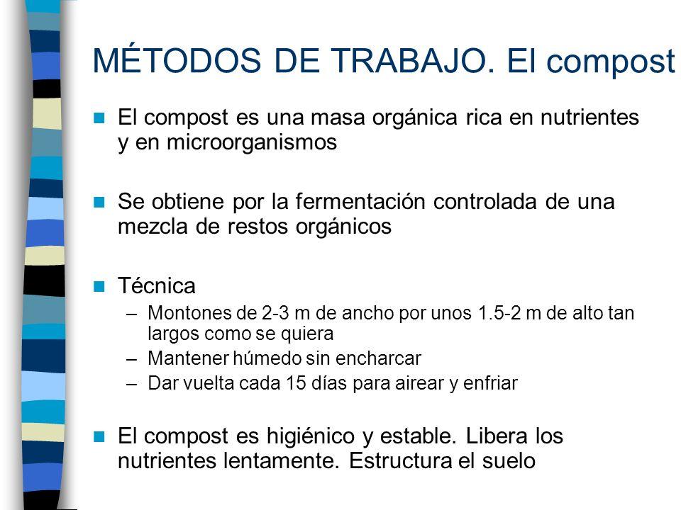 MÉTODOS DE TRABAJO. El compost El compost es una masa orgánica rica en nutrientes y en microorganismos Se obtiene por la fermentación controlada de un