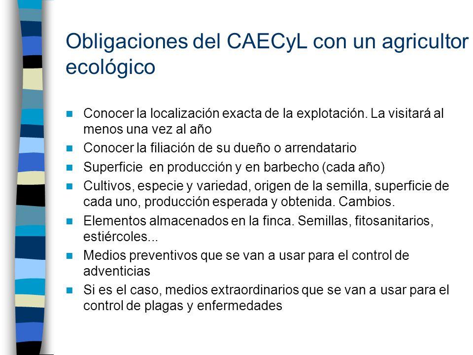 Obligaciones del CAECyL con un agricultor ecológico Conocer la localización exacta de la explotación. La visitará al menos una vez al año Conocer la f