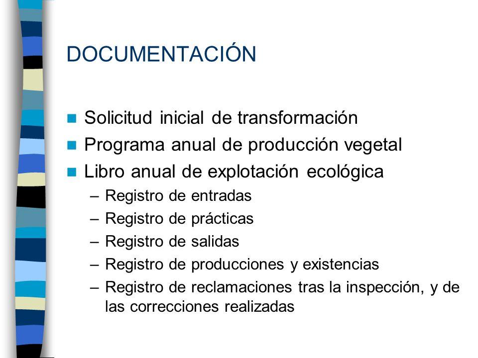 Solicitud inicial de transformación Programa anual de producción vegetal Libro anual de explotación ecológica –Registro de entradas –Registro de práct