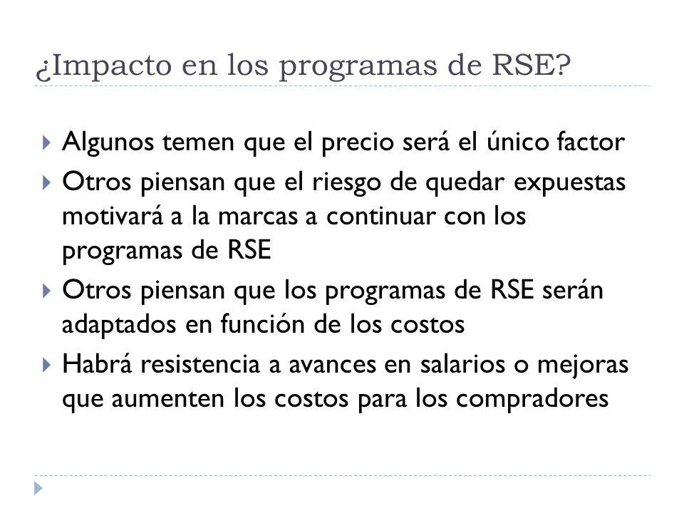 ¿Impacto en los programas de RSE? Algunos temen que el precio será el único factor Otros piensan que el riesgo de quedar expuestas motivará a la marca