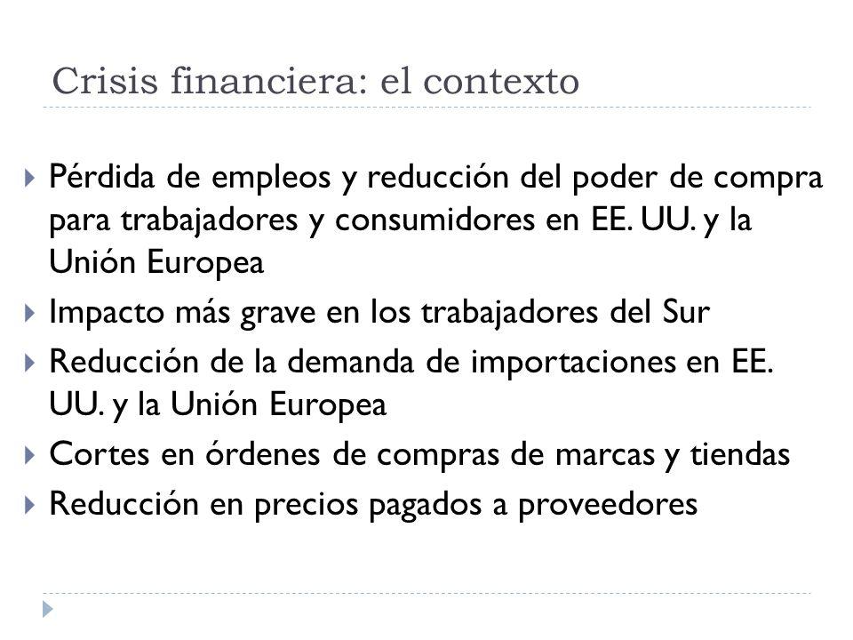 Crisis financiera: el contexto Pérdida de empleos y reducción del poder de compra para trabajadores y consumidores en EE.