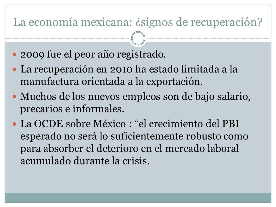 La economía mexicana: ¿signos de recuperación? 2009 fue el peor año registrado. La recuperación en 2010 ha estado limitada a la manufactura orientada