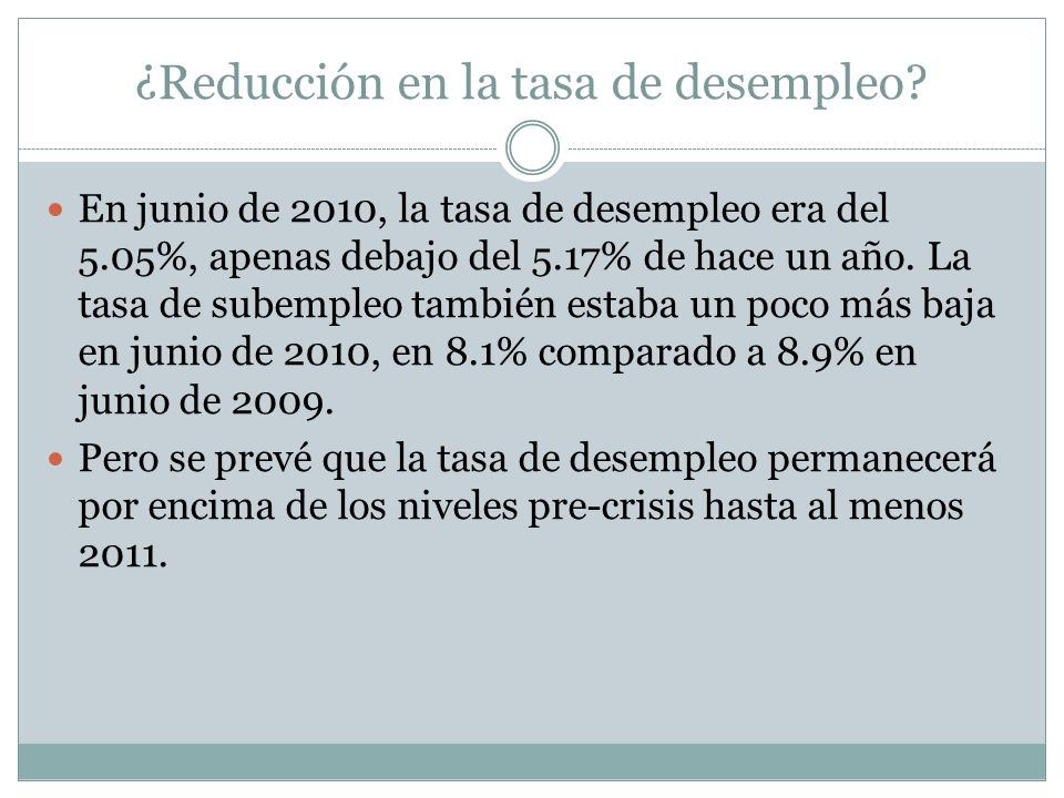¿Reducción en la tasa de desempleo? En junio de 2010, la tasa de desempleo era del 5.05%, apenas debajo del 5.17% de hace un año. La tasa de subempleo