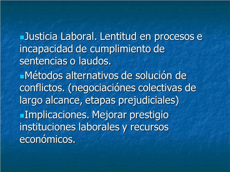 Justicia Laboral. Lentitud en procesos e incapacidad de cumplimiento de sentencias o laudos.
