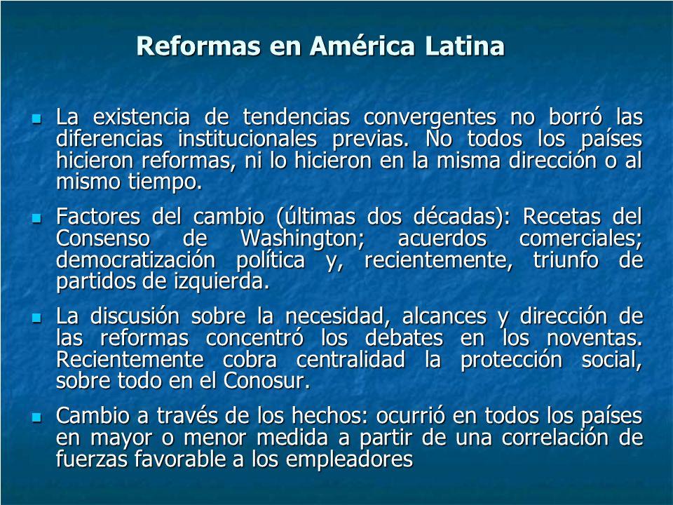 Reformas en América Latina La existencia de tendencias convergentes no borró las diferencias institucionales previas.