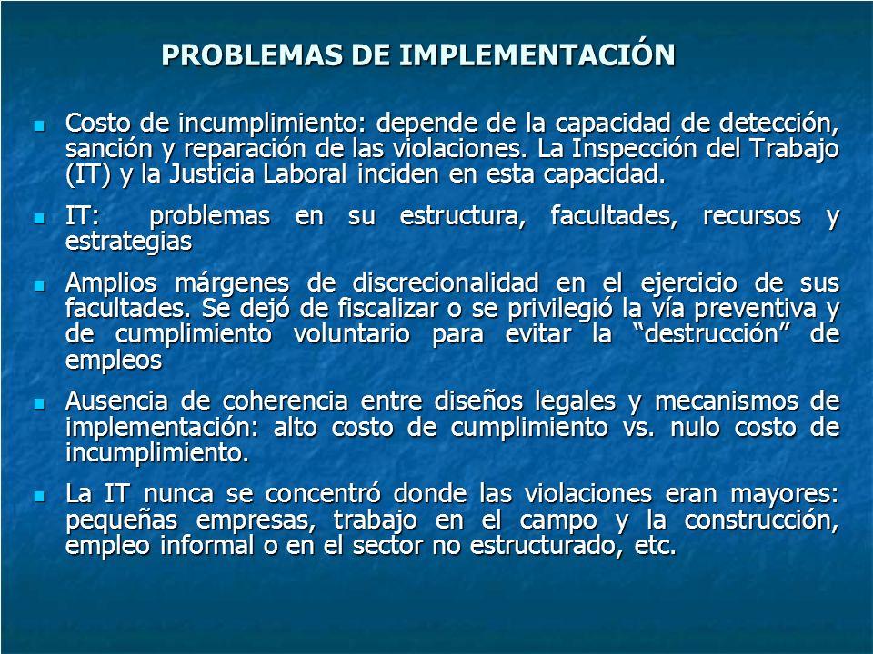 PROBLEMAS DE IMPLEMENTACIÓN Costo de incumplimiento: depende de la capacidad de detección, sanción y reparación de las violaciones.