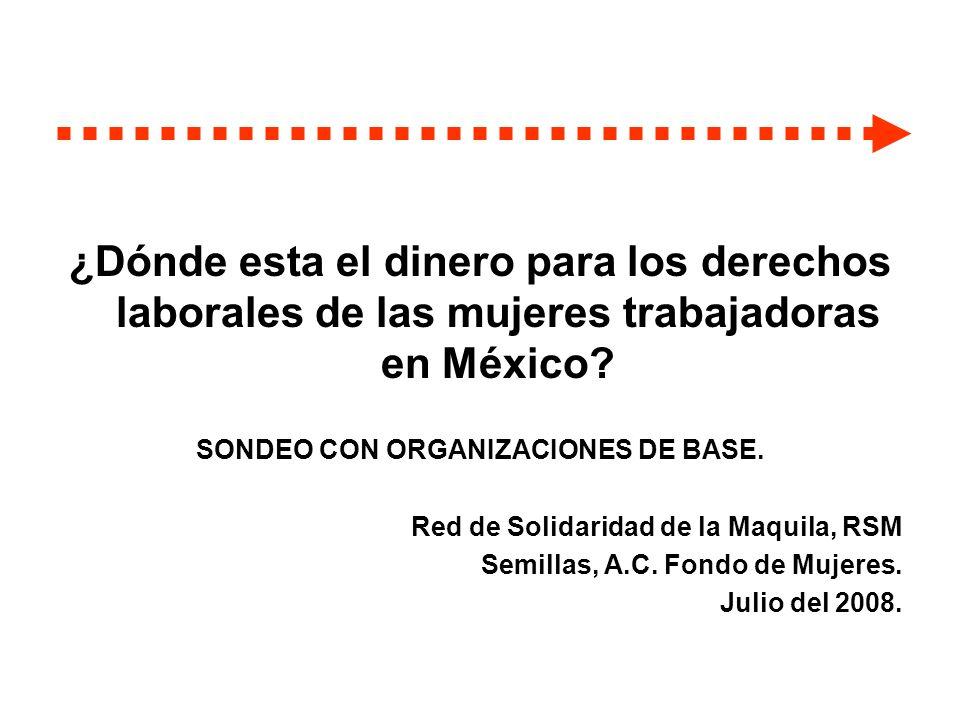 ¿Dónde esta el dinero para los derechos laborales de las mujeres trabajadoras en México? SONDEO CON ORGANIZACIONES DE BASE. Red de Solidaridad de la M