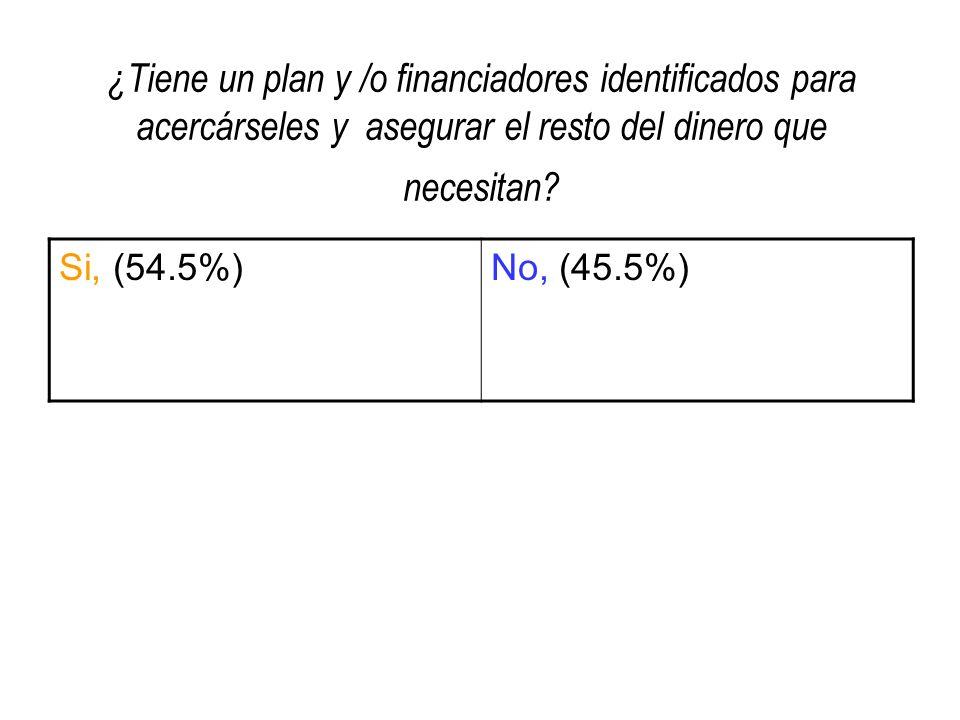 ¿Tiene un plan y /o financiadores identificados para acercárseles y asegurar el resto del dinero que necesitan? Si, (54.5%)No, (45.5%)