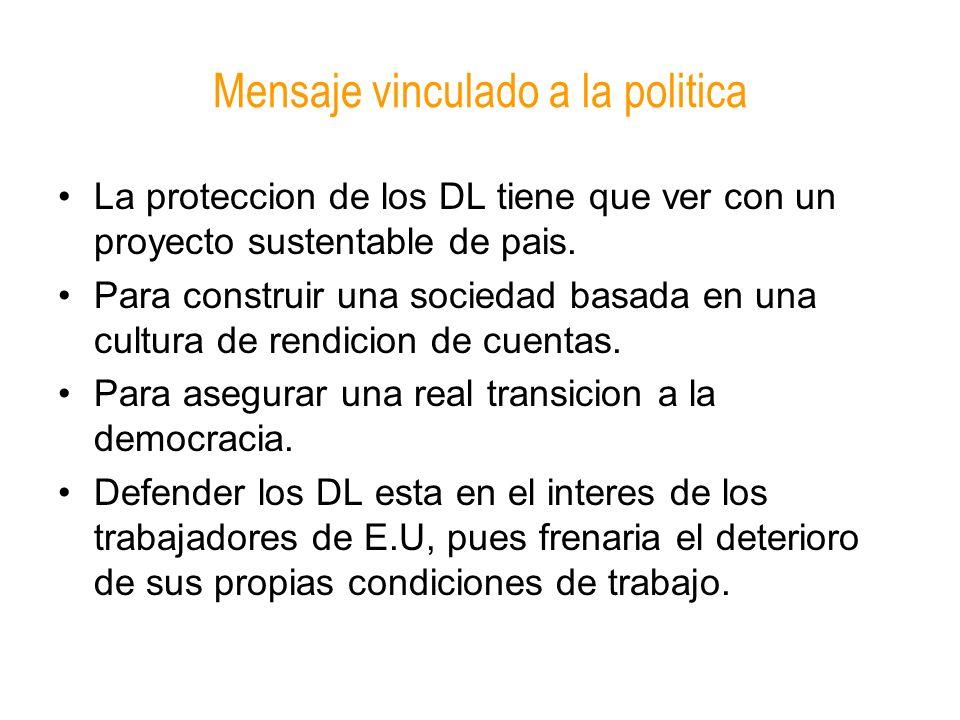 Mensaje vinculado a la politica La proteccion de los DL tiene que ver con un proyecto sustentable de pais. Para construir una sociedad basada en una c
