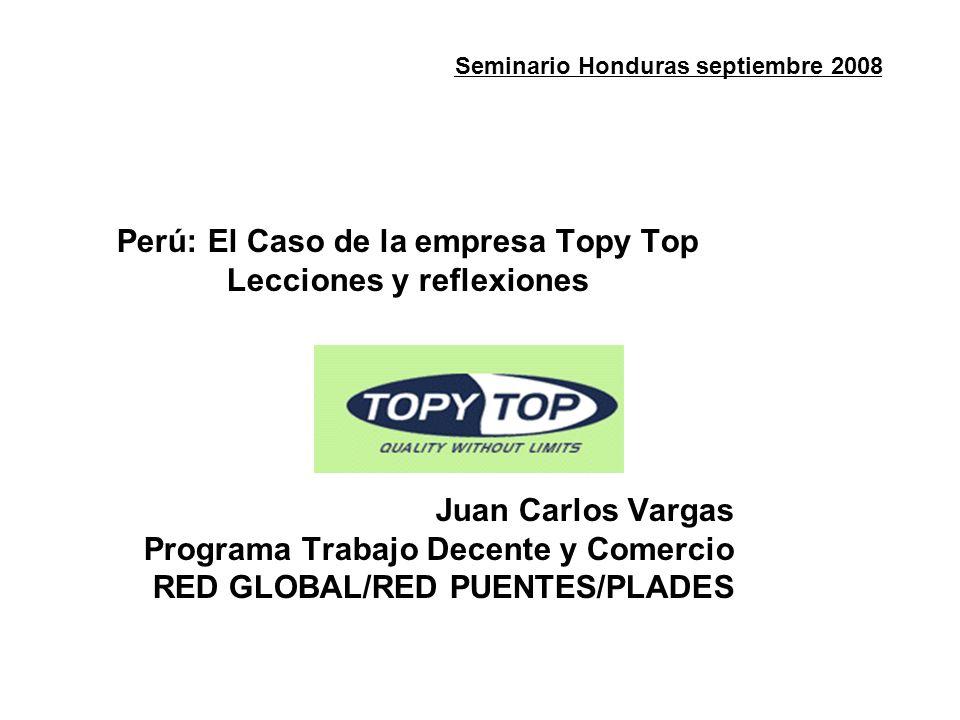 Seminario Honduras septiembre 2008 Perú: El Caso de la empresa Topy Top Lecciones y reflexiones Juan Carlos Vargas Programa Trabajo Decente y Comercio