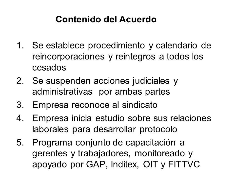 1.Se establece procedimiento y calendario de reincorporaciones y reintegros a todos los cesados 2.Se suspenden acciones judiciales y administrativas p